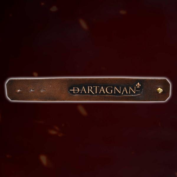 dArtagnan Lederarmband Schriftzug & Niete dunkelbraun / beige